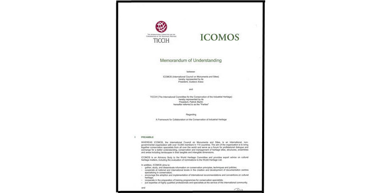 Memorandum of Understanding between ICOMOS and TICCIH - November 10, 2014