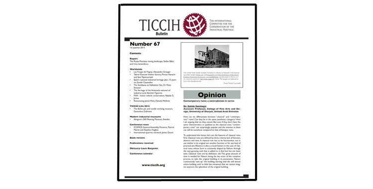 TICCIH Bulletin 67, 1st quarter, 2015 has been published